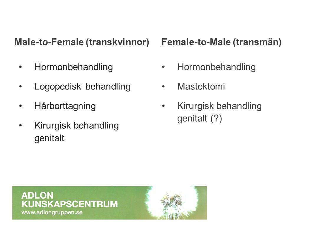 Male-to-Female (transkvinnor) Hormonbehandling Logopedisk behandling Hårborttagning Kirurgisk behandling genitalt Female-to-Male (transmän) Hormonbeha
