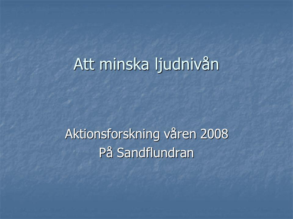 Att minska ljudnivån Aktionsforskning våren 2008 På Sandflundran