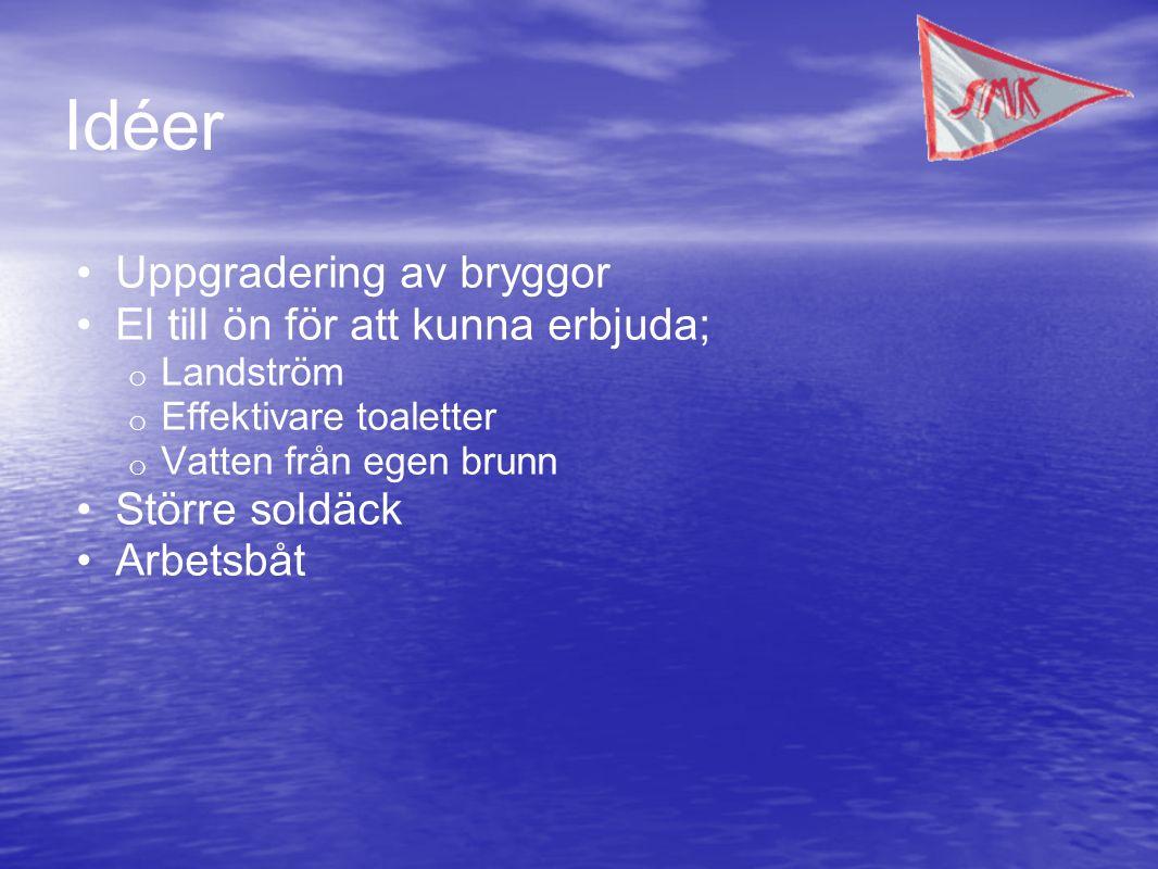 Idéer Uppgradering av bryggor El till ön för att kunna erbjuda; o Landström o Effektivare toaletter o Vatten från egen brunn Större soldäck Arbetsbåt