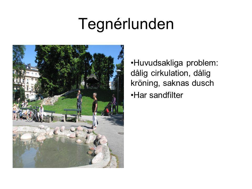 Tegnérlunden Huvudsakliga problem: dålig cirkulation, dålig kröning, saknas dusch Har sandfilter