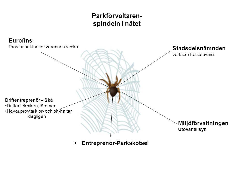 Parkförvaltaren- spindeln i nätet Eurofins- Provtar bakthalter varannan vecka Driftentreprenör – Skå Driftar tekniken, tömmer Håvar,provtar klor- och ph-halter dagligen Stadsdelsnämnden verksamhetsutövare Miljöförvaltningen Utövar tillsyn Entreprenör-Parkskötsel
