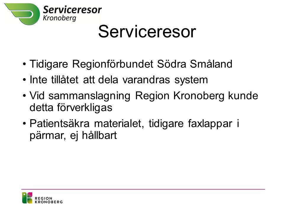 Serviceresor Tidigare Regionförbundet Södra Småland Inte tillåtet att dela varandras system Vid sammanslagning Region Kronoberg kunde detta förverkligas Patientsäkra materialet, tidigare faxlappar i pärmar, ej hållbart
