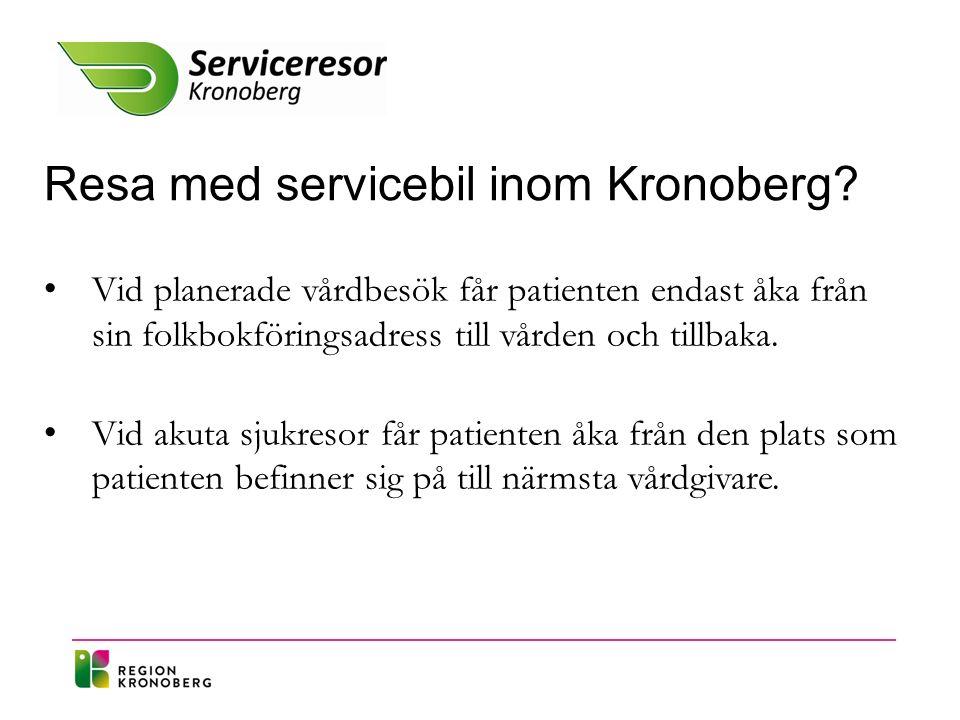 Resa med servicebil utanför Kronoberg.