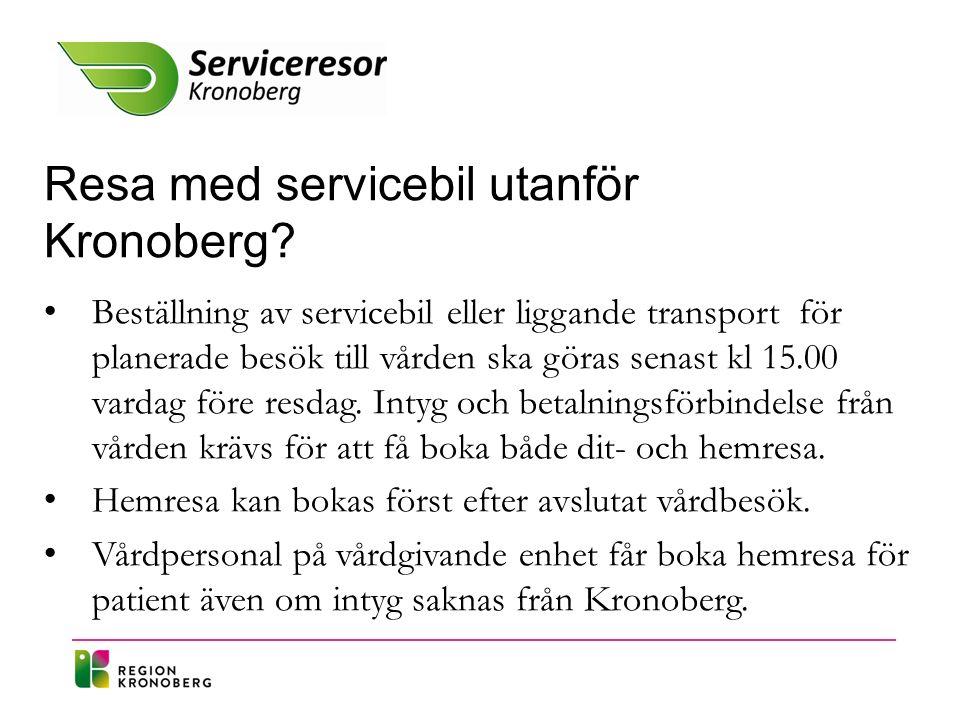 Anslutningsresa till buss/tåg och Linnéan Patient som kan åka buss/tåg eller Linnéan men inte kan ta sig till och från hållplats på egen hand kan boka anslutningsresa via Serviceresor.
