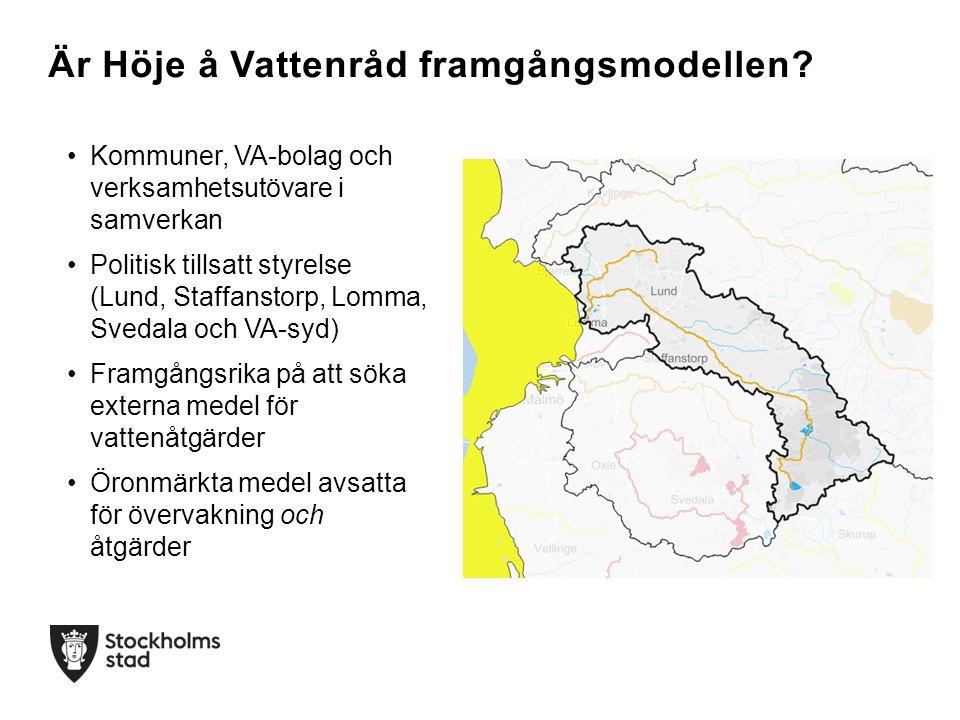 Kommuner, VA-bolag och verksamhetsutövare i samverkan Politisk tillsatt styrelse (Lund, Staffanstorp, Lomma, Svedala och VA-syd) Framgångsrika på att söka externa medel för vattenåtgärder Öronmärkta medel avsatta för övervakning och åtgärder Är Höje å Vattenråd framgångsmodellen?
