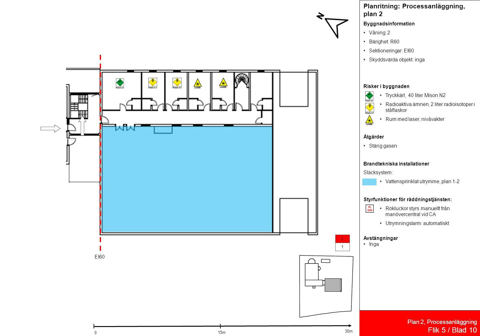 Plan 2, Processanläggning Flik 5 / Blad 10 1 2 Planritning: Processanläggning, plan 2 Byggnadsinformation Våning: 2 Bärighet: R60 Sektioneringar: EI60 Skyddsvärda objekt: inga Risker i byggnaden Tryckkärl, 40 liter Mison N2 Radioaktiva ämnen, 2 liter radioisotoper i ståflaskor Rum med laser, nivåvakter Åtgärder Stäng gasen Brandtekniska installationer Släcksystem: Vattensprinklat utrymme, plan 1-2 Styrfunktioner för räddningstjänsten: Rökluckor styrs manuellt från manövercentral vid CA Utrymningslarm: automatiskt Avstängningar Inga EI60 15m 0 30m