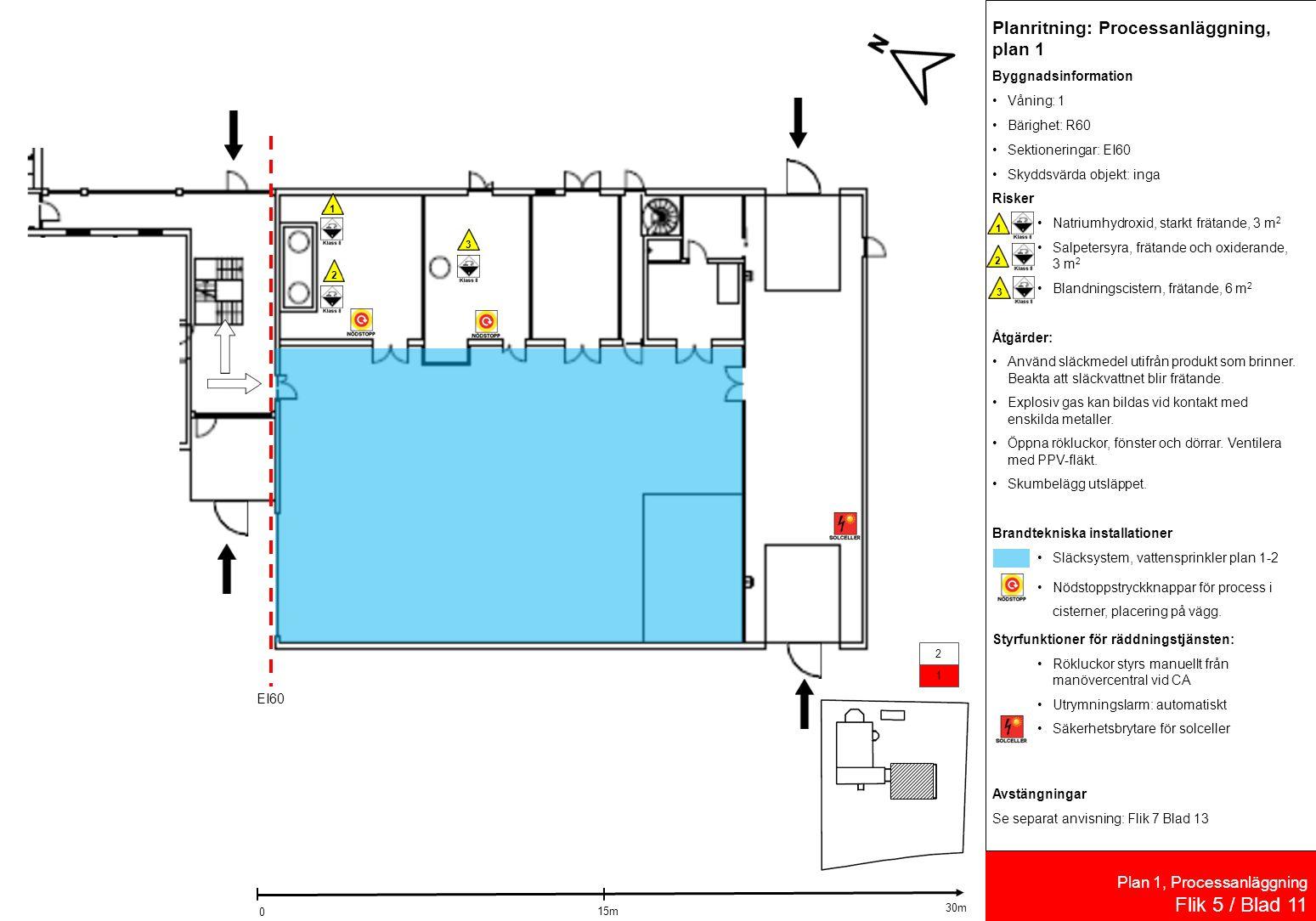 Plan 1, Processanläggning Flik 5 / Blad 11 EI60 132 Planritning: Processanläggning, plan 1 Byggnadsinformation Våning: 1 Bärighet: R60 Sektioneringar: EI60 Skyddsvärda objekt: inga Risker Natriumhydroxid, starkt frätande, 3 m 2 Salpetersyra, frätande och oxiderande, 3 m 2 Blandningscistern, frätande, 6 m 2 Åtgärder: Använd släckmedel utifrån produkt som brinner.