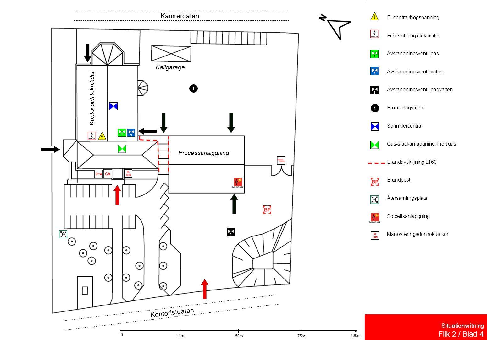 Situationsritning Flik 2 / Blad 4 El-central/högspänning Frånskiljning elektricitet Avstängningsventil gas Avstängningsventil vatten Avstängningsventil dagvatten Brunn dagvatten Sprinklercentral Gas-släckanläggning, Inert gas Brandavskiljning EI 60 Brandpost Återsamlingsplats Solcellsanläggning Manövreringsdon rökluckor Kallgarage Kontor och teknikdel Processanläggning 1 1 11 Kamrergatan Kontoristgatan 11 50m 25m 75m 100m 0 11