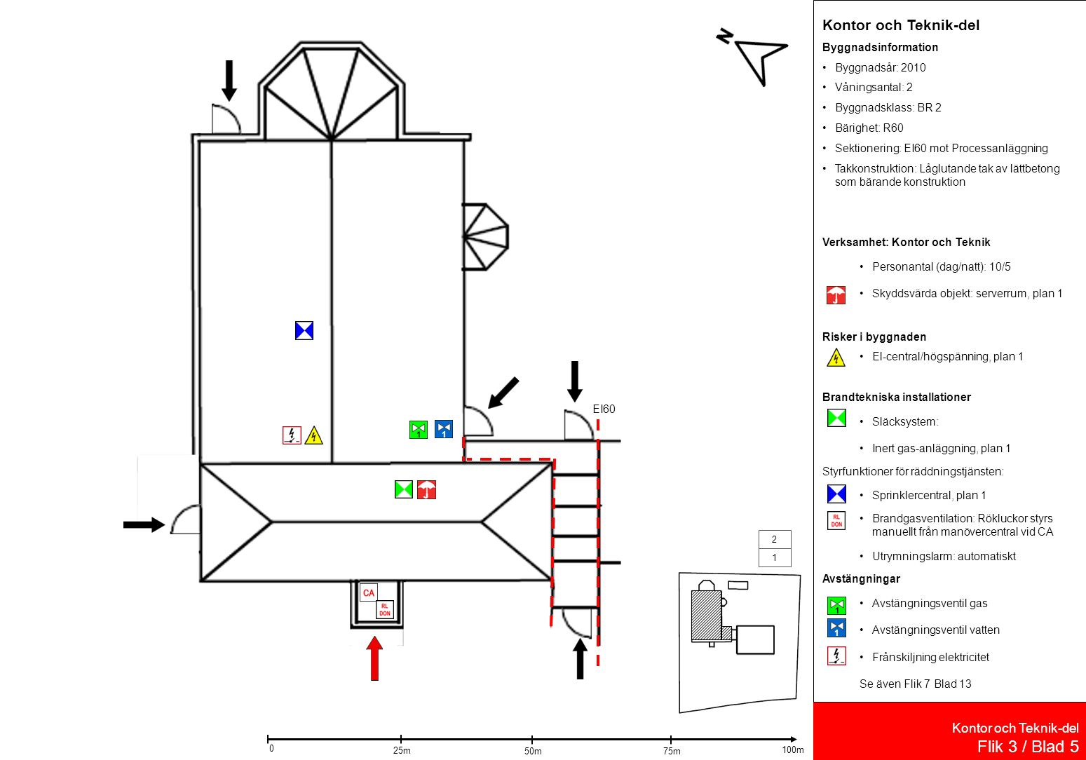 Processanläggning Flik 3 / Blad 6 Processanläggning Byggnadsinformation Byggnadsår: 2010 Våningsantal: 2 Byggnadsklass: BR 2 Bärighet: R60 Sektionering: EI60 mot Kontor och Teknik-del Takkonstruktion: Låglutande tak av lättbetong som bärande konstruktion Skyddsvärda objekt: Inga Verksamhet: Processanläggning Personantal (dag/natt): 10/5 Risker i byggnaden Cisterner med frätande ämnen, 2 cisterner med 3m 2, 1 cistern med 6 m 2, plan 1 Tryckkärl, 40 liter skyddsgas, plan 2 Radioaktiva ämnen, stålflaskor med spårämnen, plan 2 Rum med laser, plan 2 Brandtekniska installationer Släcksystem: Sprinklat utrymme, plan 1-2 Brandgasventilation: Rökluckor Styrfunktioner för räddningstjänsten: Brandgasventilation: Rökluckor styrs manuellt från manövercentral vid CA Säkerhetsbrytare för solceller Kontor och Teknikdel Utrymningslarm: automatiskt Avstängningar Huvudavstängningar via nödstopp tryckknapp Uppsamlingsanordningar: Invallning, plan 1 Se även Flik5/Blad11 och Flik 7/Blad 13 EI60 1 2 45m 15m 0 30m