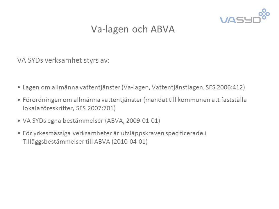 ABVA (Allmänna bestämmelser för brukande av den allmänna vatten- och avloppsanläggningen) Gäller i VASAM-kommunerna (VA SYDs kommuner, Kävlinge, Lomma, Staffanstorp, Svedala, Trelleborg, Vellinge)