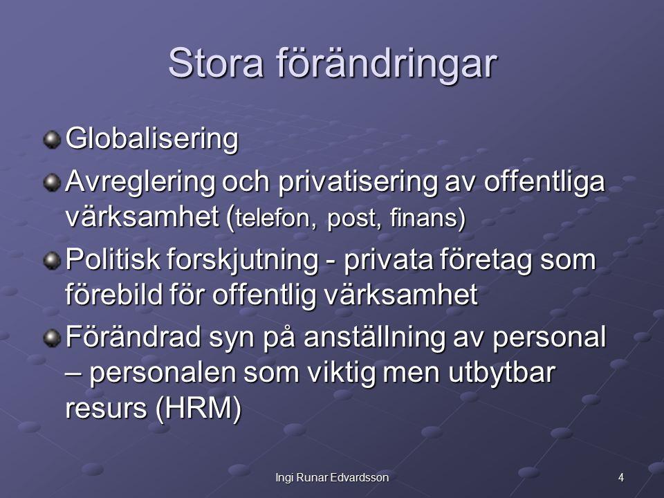 4Ingi Runar Edvardsson Stora förändringar Globalisering Avreglering och privatisering av offentliga värksamhet ( telefon, post, finans) Politisk forskjutning - privata företag som förebild för offentlig värksamhet Förändrad syn på anställning av personal – personalen som viktig men utbytbar resurs (HRM)