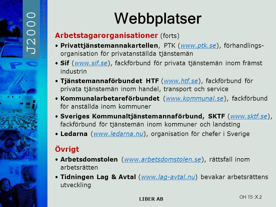 LIBER AB OH 15 Webbplatser Arbetstagarorganisationer (forts) Privattjänstemannakartellen, PTK (www.ptk.se), förhandlings- organisation för privatanställda tjänstemänwww.ptk.se Sif (www.sif.se), fackförbund för privata tjänstemän inom främst industrinwww.sif.se Tjänstemannaförbundet HTF (www.htf.se), fackförbund för privata tjänstemän inom handel, transport och servicewww.htf.se Kommunalarbetareförbundet (www.kommunal.se), fackförbund för anställda inom kommunerwww.kommunal.se Sveriges Kommunaltjänstemannaförbund, SKTF (www.sktf.se), fackförbund för tjänstemän inom kommuner och landstingwww.sktf.se Ledarna (www.ledarna.nu), organisation för chefer i Sverigewww.ledarna.nu Övrigt Arbetsdomstolen (www.arbetsdomstolen.se), rättsfall inom arbetsrättenwww.arbetsdomstolen.se Tidningen Lag & Avtal (www.lag-avtal.nu) bevakar arbetsrättens utvecklingwww.lag-avtal.nu :X.2