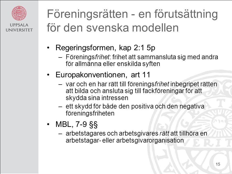 Föreningsrätten - en förutsättning för den svenska modellen Regeringsformen, kap 2:1 5p –Föreningsfrihet: frihet att sammansluta sig med andra för allmänna eller enskilda syften Europakonventionen, art 11 –var och en har rätt till föreningsfrihet inbegripet rätten att bilda och ansluta sig till fackföreningar för att skydda sina intressen –ett skydd för både den positiva och den negativa föreningsfriheten MBL, 7-9 §§ –arbetstagares och arbetsgivares rätt att tillhöra en arbetstagar- eller arbetsgivarorganisation 15