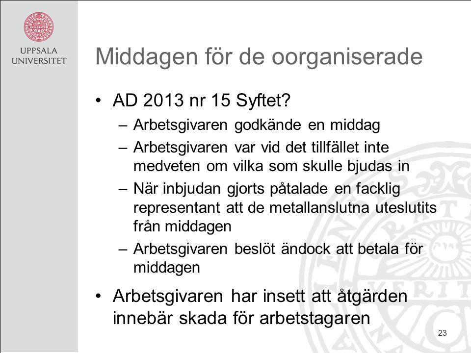 Middagen för de oorganiserade AD 2013 nr 15 Syftet.