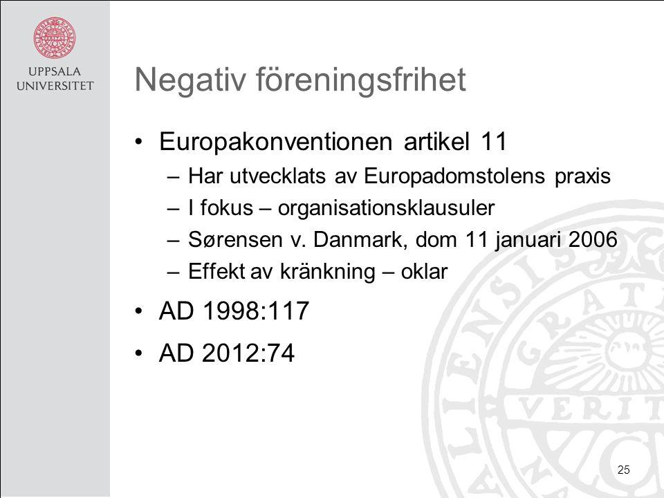 Negativ föreningsfrihet Europakonventionen artikel 11 –Har utvecklats av Europadomstolens praxis –I fokus – organisationsklausuler –Sørensen v. Danmar