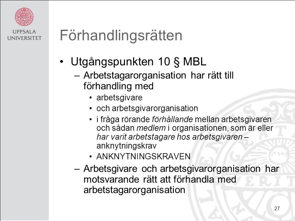 Förhandlingsrätten Utgångspunkten 10 § MBL –Arbetstagarorganisation har rätt till förhandling med arbetsgivare och arbetsgivarorganisation i fråga rörande förhållande mellan arbetsgivaren och sådan medlem i organisationen, som är eller har varit arbetstagare hos arbetsgivaren – anknytningskrav ANKNYTNINGSKRAVEN –Arbetsgivare och arbetsgivarorganisation har motsvarande rätt att förhandla med arbetstagarorganisation 27