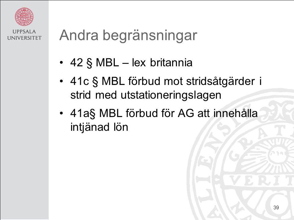Andra begränsningar 42 § MBL – lex britannia 41c § MBL förbud mot stridsåtgärder i strid med utstationeringslagen 41a§ MBL förbud för AG att innehålla intjänad lön 39