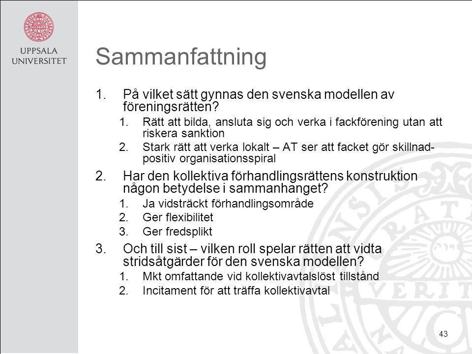 Sammanfattning 1.På vilket sätt gynnas den svenska modellen av föreningsrätten? 1.Rätt att bilda, ansluta sig och verka i fackförening utan att risker