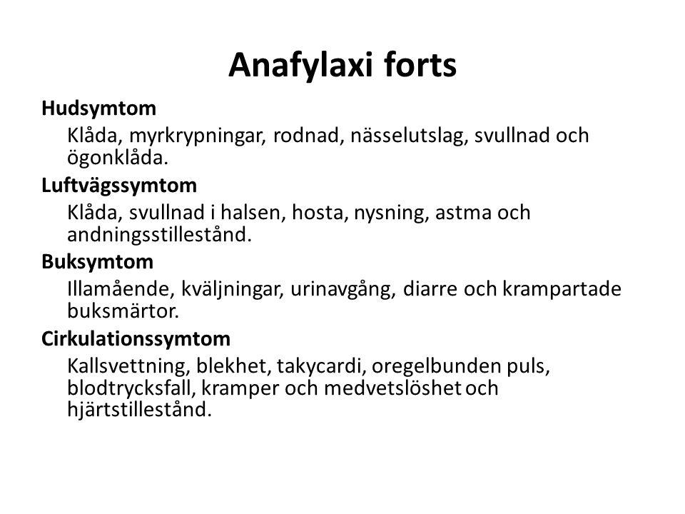 Anafylaxi forts Hudsymtom Klåda, myrkrypningar, rodnad, nässelutslag, svullnad och ögonklåda. Luftvägssymtom Klåda, svullnad i halsen, hosta, nysning,