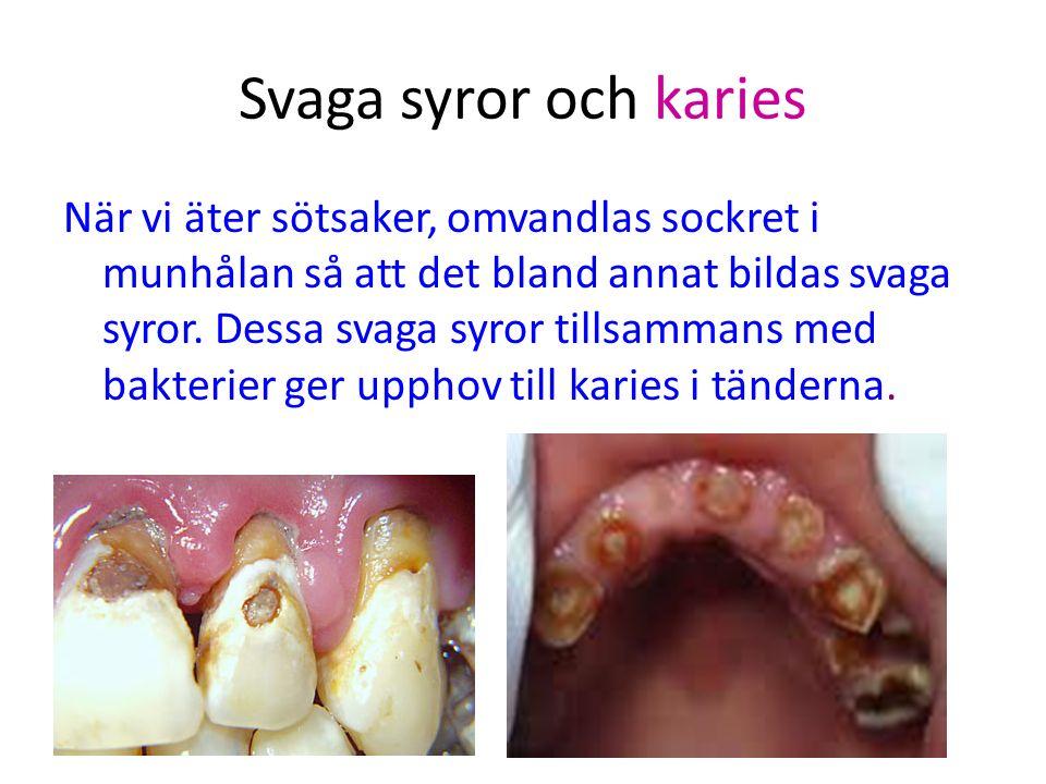 Svaga syror och karies När vi äter sötsaker, omvandlas sockret i munhålan så att det bland annat bildas svaga syror.