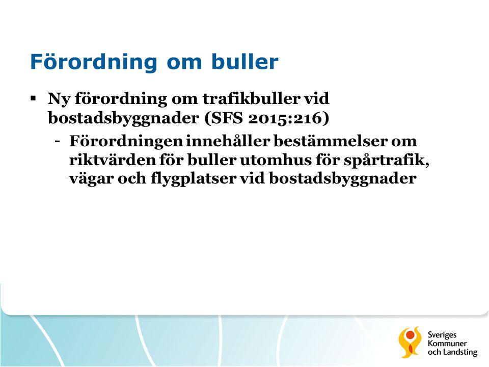 Förordning om buller  Ny förordning om trafikbuller vid bostadsbyggnader (SFS 2015:216) - Förordningen innehåller bestämmelser om riktvärden för buller utomhus för spårtrafik, vägar och flygplatser vid bostadsbyggnader