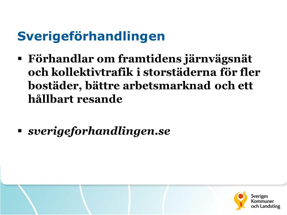 Sverigeförhandlingen  Förhandlar om framtidens järnvägsnät och kollektivtrafik i storstäderna för fler bostäder, bättre arbetsmarknad och ett hållbart resande  sverigeforhandlingen.se