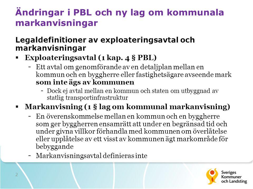 Ändringar i PBL och ny lag om kommunala markanvisningar Legaldefinitioner av exploateringsavtal och markanvisningar  Exploateringsavtal (1 kap.