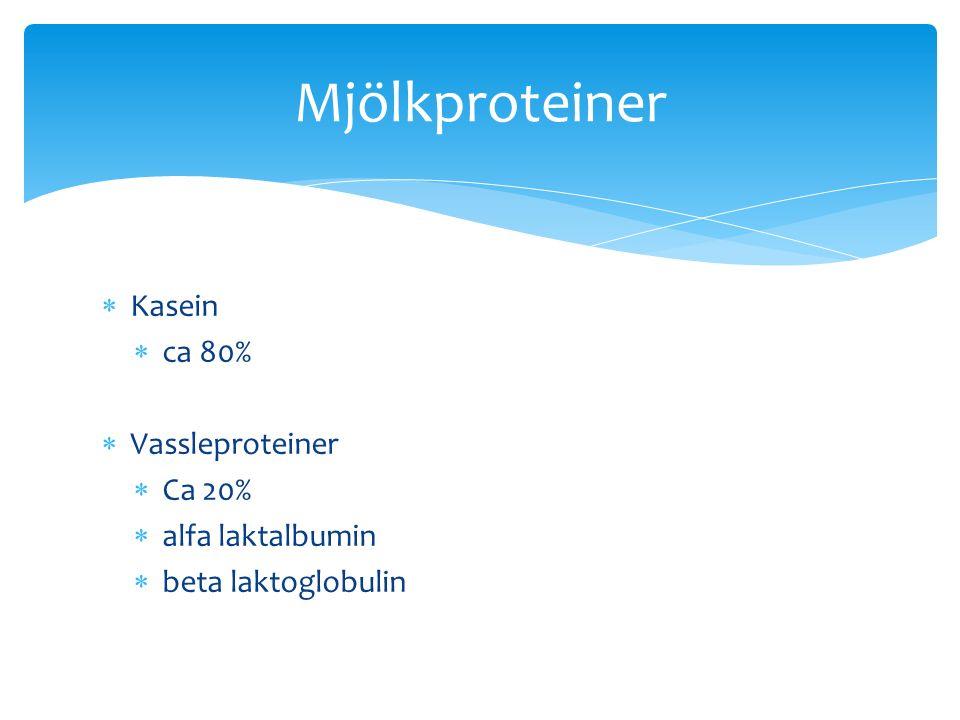  Kasein  ca 80%  Vassleproteiner  Ca 20%  alfa laktalbumin  beta laktoglobulin Mjölkproteiner