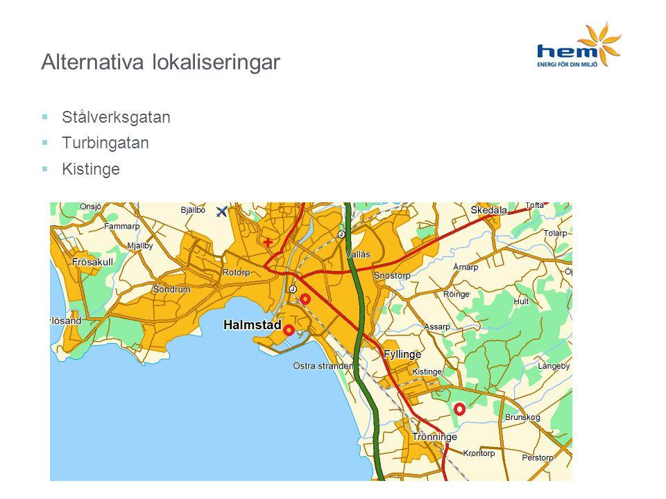 Alternativa lokaliseringar  Stålverksgatan  Turbingatan  Kistinge