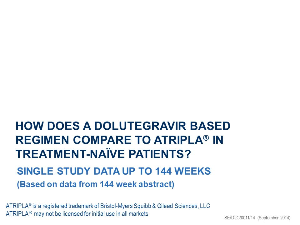 SINGLE: SUMMARY DTG + ABC/3TC had statistically superior efficacy vs ATRIPLA ® 88% vs 81% remained undetectable at 48 weeks ( P =0.003) 80% vs 72% remained undetectable at 96 weeks ( P =0.006) 71% vs 63% remained undetectable at 144 weeks ( P =0.010) DTG + ABC/3TC was effective regardless of baseline viral load 83% of treatment-naïve patients with HIV-1 RNA >100,000 copies/mL remained undetectable at 48 weeks DTG + ABC/3TC was still as effective as ATRIPLA ® in patients with high baseline viral loads at 96 weeks 69% of treatment-naïve patients with HIV-1 RNA >100,000 copies/mL remained undetectable at 144 weeks DTG + ABC/3TC was generally better tolerated vs ATRIPLA ® with fewer discontinuations 2% vs 10% discontinued due to AEs at 48 weeks 3% vs 11% discontinued due to AEs at 96 weeks 4% vs 14% discontinued due to AEs at 144 weeks No INI or NRTI resistance up to 144 weeks with DTG-based regimen TIVICAY Produktresumé 07/2014 Walmsley S, et al.
