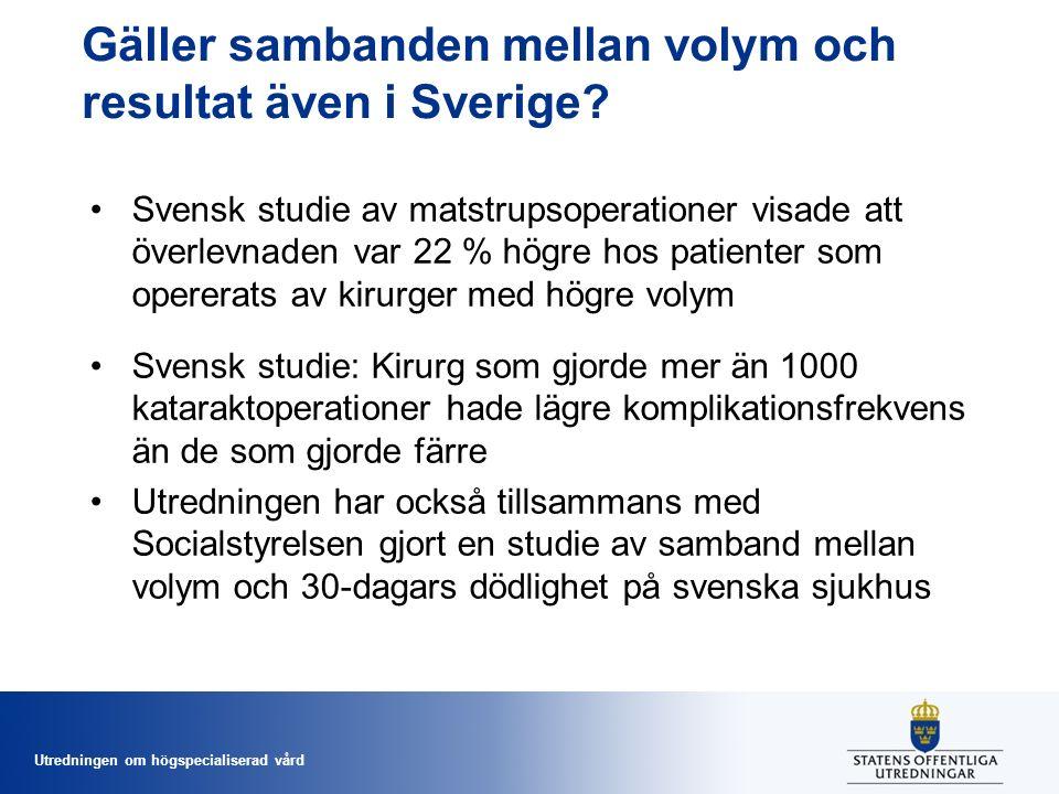 Utredningen om högspecialiserad vård Gäller sambanden mellan volym och resultat även i Sverige.
