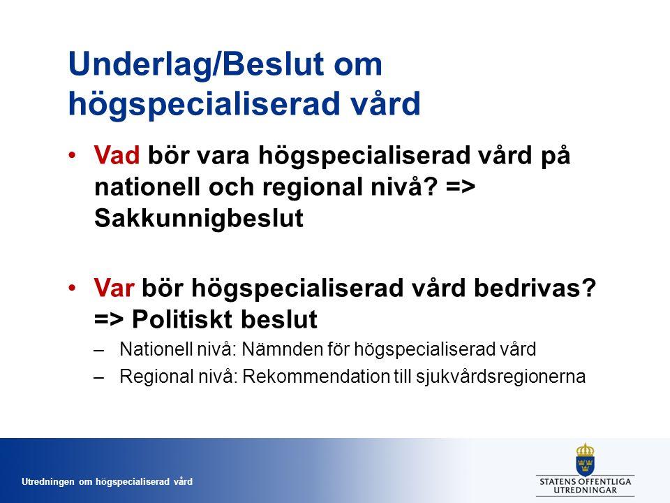Utredningen om högspecialiserad vård Underlag/Beslut om högspecialiserad vård Vad bör vara högspecialiserad vård på nationell och regional nivå.