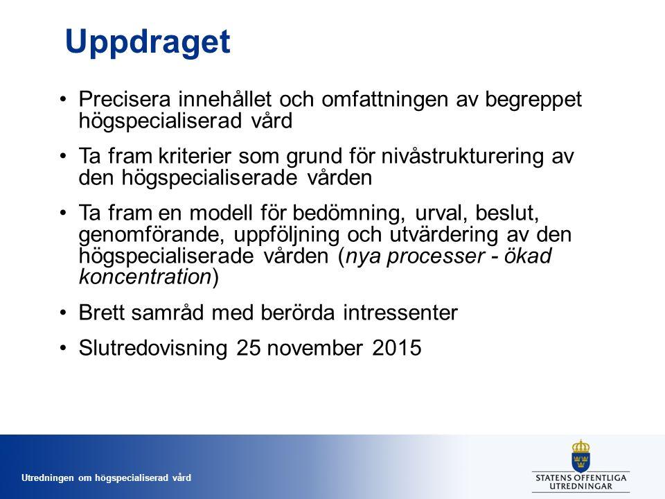 Utredningen om högspecialiserad vård Uppdraget Precisera innehållet och omfattningen av begreppet högspecialiserad vård Ta fram kriterier som grund för nivåstrukturering av den högspecialiserade vården Ta fram en modell för bedömning, urval, beslut, genomförande, uppföljning och utvärdering av den högspecialiserade vården (nya processer - ökad koncentration) Brett samråd med berörda intressenter Slutredovisning 25 november 2015