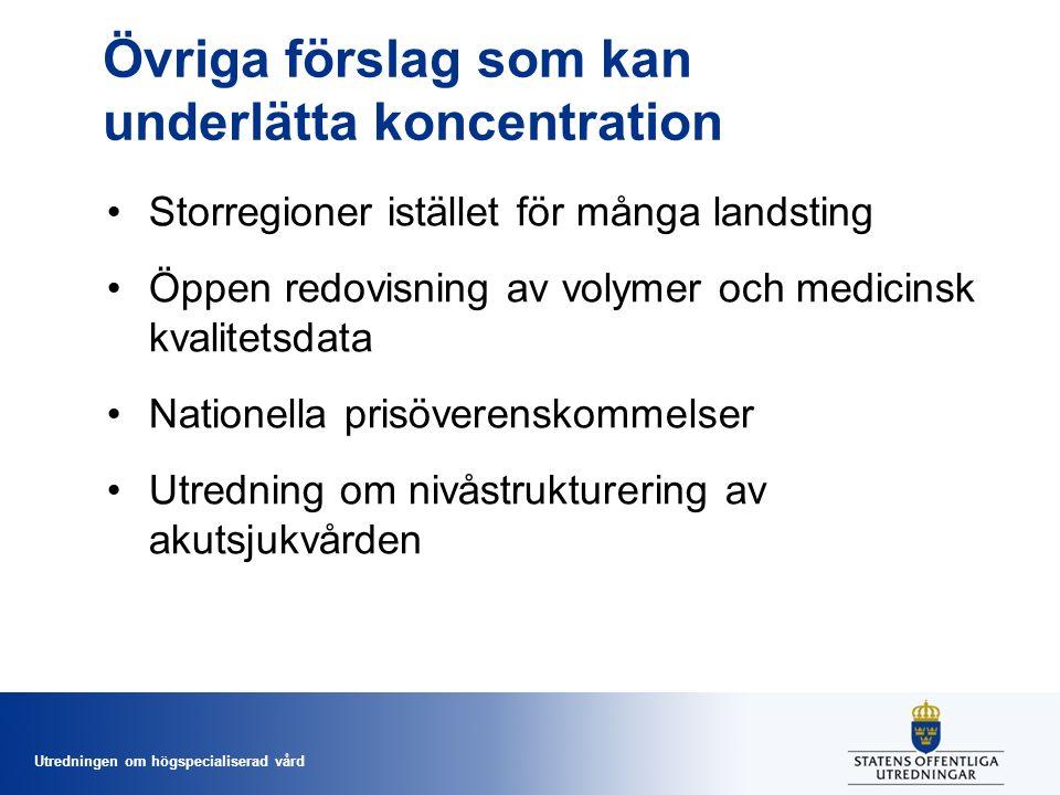 Utredningen om högspecialiserad vård Övriga förslag som kan underlätta koncentration Storregioner istället för många landsting Öppen redovisning av volymer och medicinsk kvalitetsdata Nationella prisöverenskommelser Utredning om nivåstrukturering av akutsjukvården