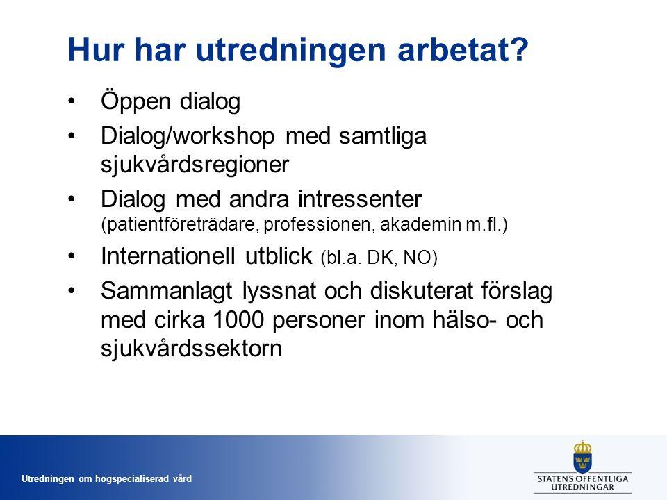 Utredningen om högspecialiserad vård Tydligt samband mellan volym och dödlighet inom 30 dagar i Sverige Alla op som till minst 90 % vårdats i sluten vård, 1 162 400 operationer, 35 365 dödsfall, 2010-13 Sjukhusvolym (antal op per år)Oddskvot 1 - 91,23 10 -191,12 20 – 491,08 50 -991,01 100 +1 (referens)