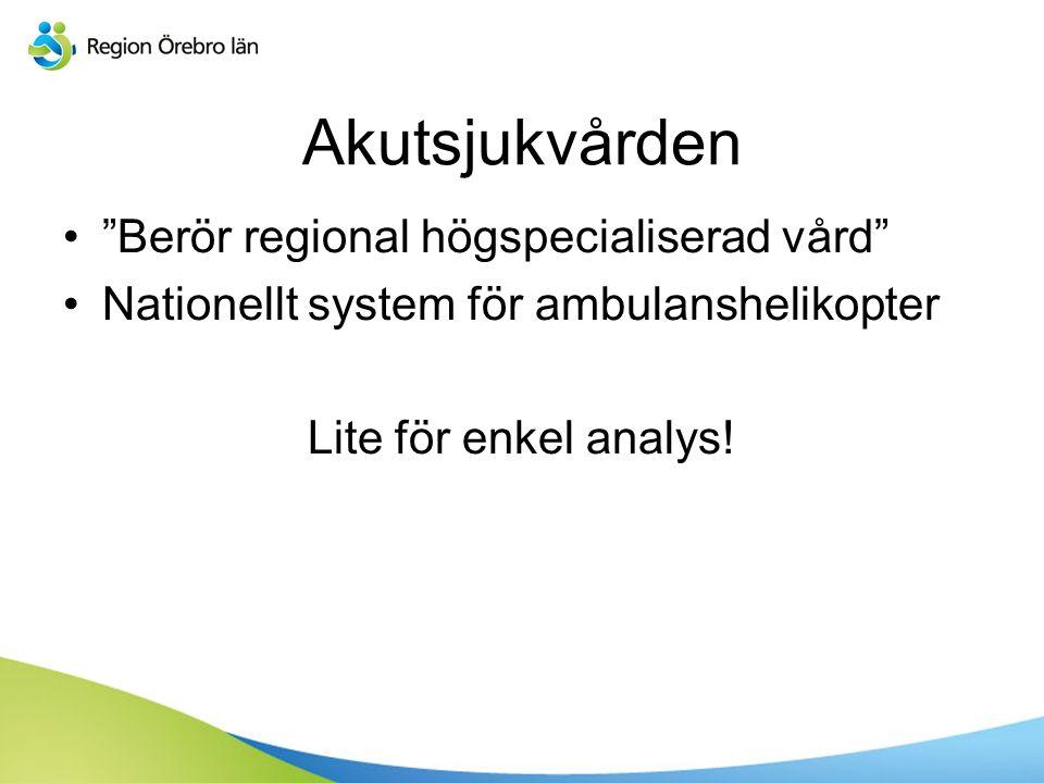 Akutsjukvården Berör regional högspecialiserad vård Nationellt system för ambulanshelikopter Lite för enkel analys!