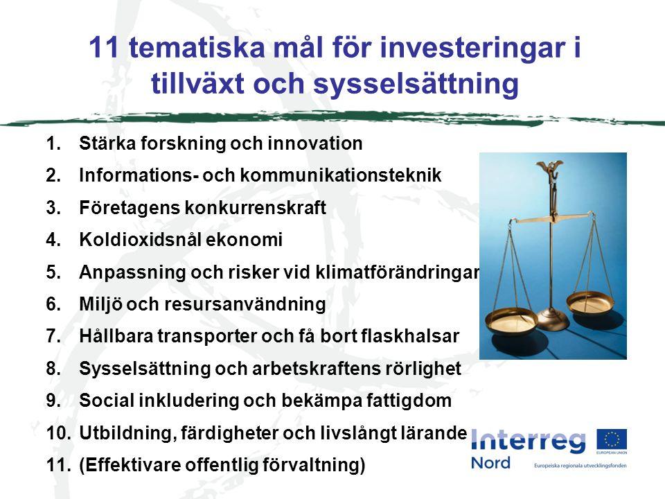 11 tematiska mål för investeringar i tillväxt och sysselsättning 1.Stärka forskning och innovation 2.Informations- och kommunikationsteknik 3.Företagens konkurrenskraft 4.Koldioxidsnål ekonomi 5.Anpassning och risker vid klimatförändringar 6.Miljö och resursanvändning 7.Hållbara transporter och få bort flaskhalsar 8.Sysselsättning och arbetskraftens rörlighet 9.Social inkludering och bekämpa fattigdom 10.Utbildning, färdigheter och livslångt lärande 11.(Effektivare offentlig förvaltning)