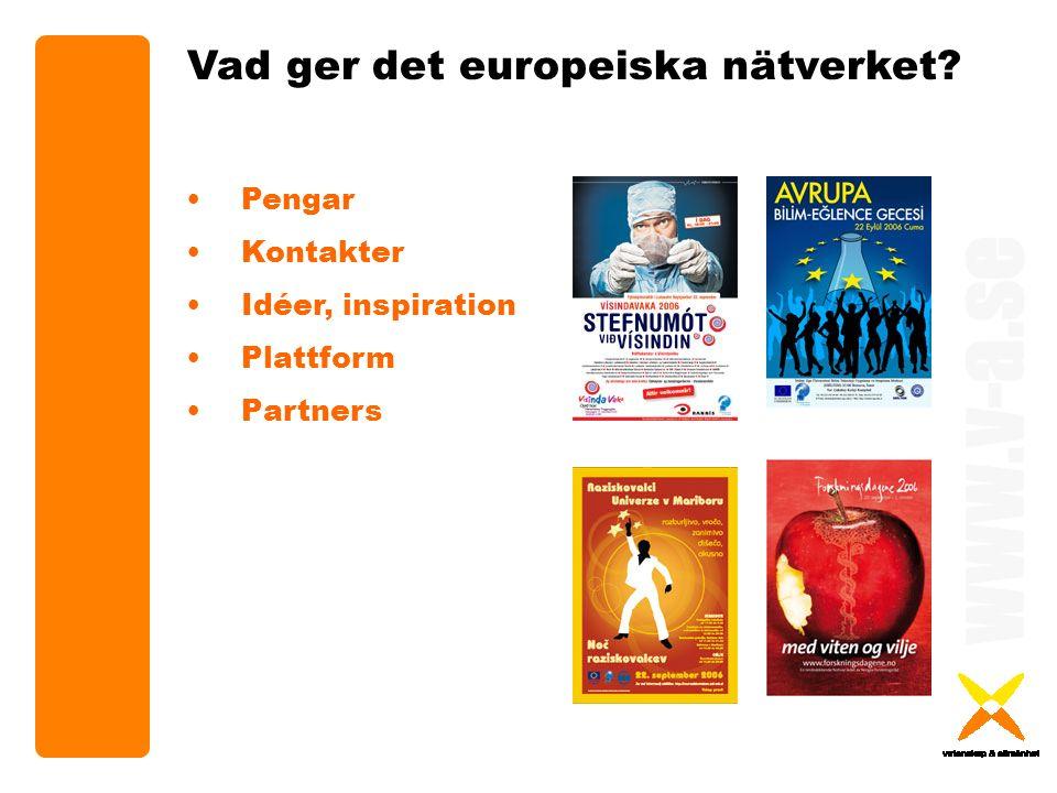 www.v-a.se Vad ger det europeiska nätverket Pengar Kontakter Idéer, inspiration Plattform Partners