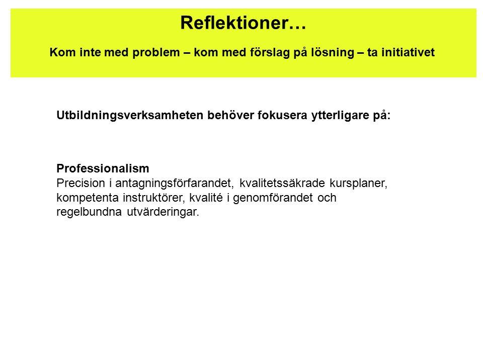 Reflektioner… Kom inte med problem – kom med förslag på lösning – ta initiativet Utbildningsverksamheten behöver fokusera ytterligare på: Professionalism Precision i antagningsförfarandet, kvalitetssäkrade kursplaner, kompetenta instruktörer, kvalité i genomförandet och regelbundna utvärderingar.