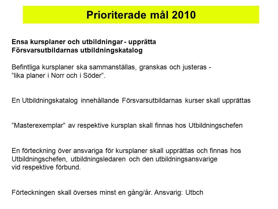 Ensa kursplaner och utbildningar - upprätta Försvarsutbildarnas utbildningskatalog Befintliga kursplaner ska sammanställas, granskas och justeras - lika planer i Norr och i Söder .