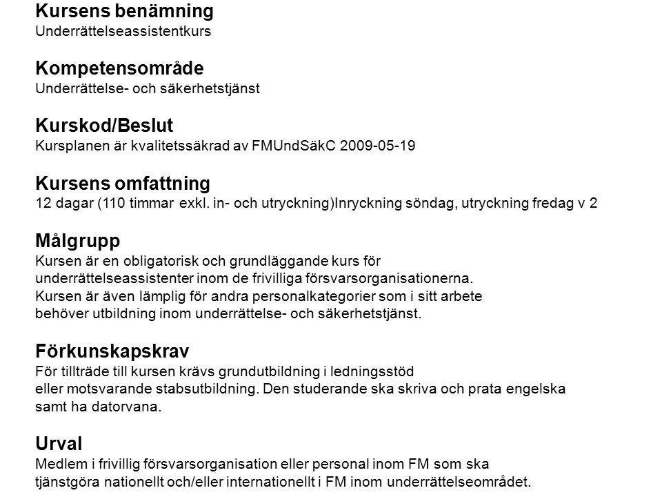 Kursens benämning Underrättelseassistentkurs Kompetensområde Underrättelse- och säkerhetstjänst Kurskod/Beslut Kursplanen är kvalitetssäkrad av FMUndSäkC 2009-05-19 Kursens omfattning 12 dagar (110 timmar exkl.