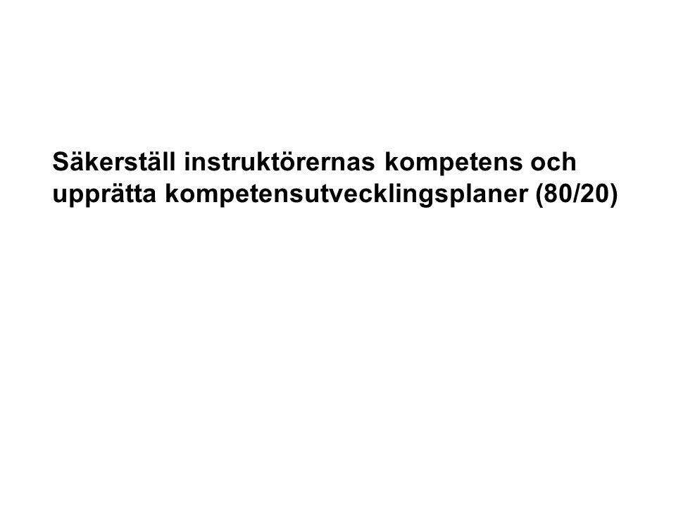 Säkerställ instruktörernas kompetens och upprätta kompetensutvecklingsplaner (80/20)