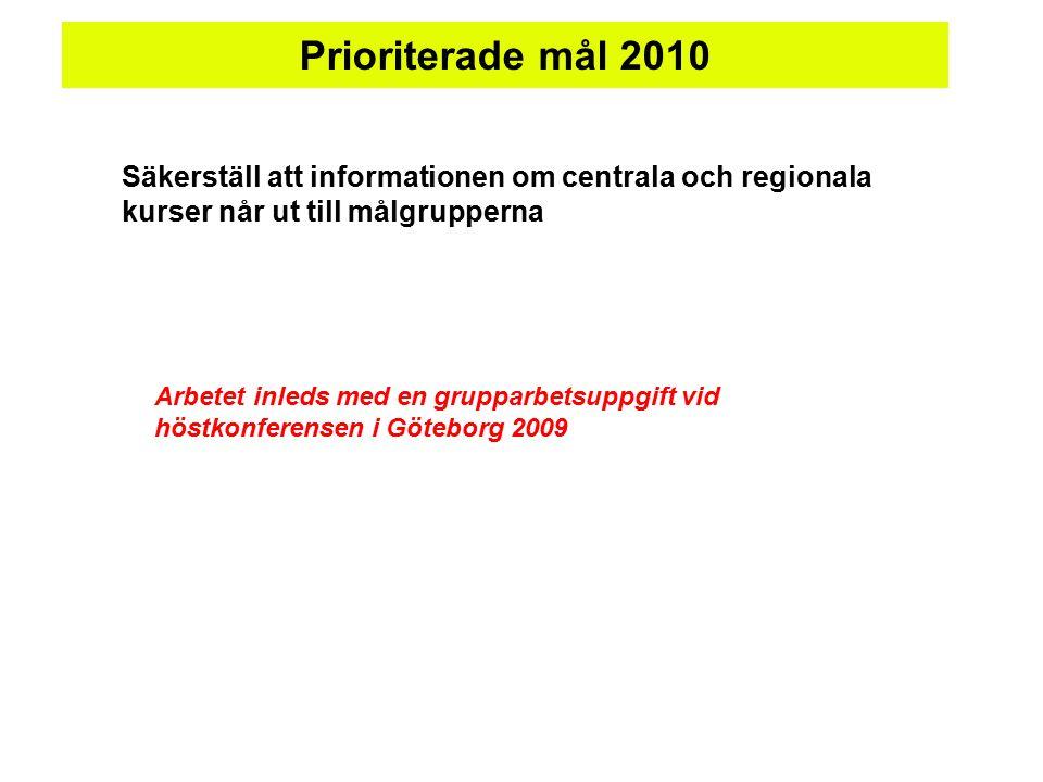 Prioriterade mål 2010 Säkerställ att informationen om centrala och regionala kurser når ut till målgrupperna Arbetet inleds med en grupparbetsuppgift vid höstkonferensen i Göteborg 2009