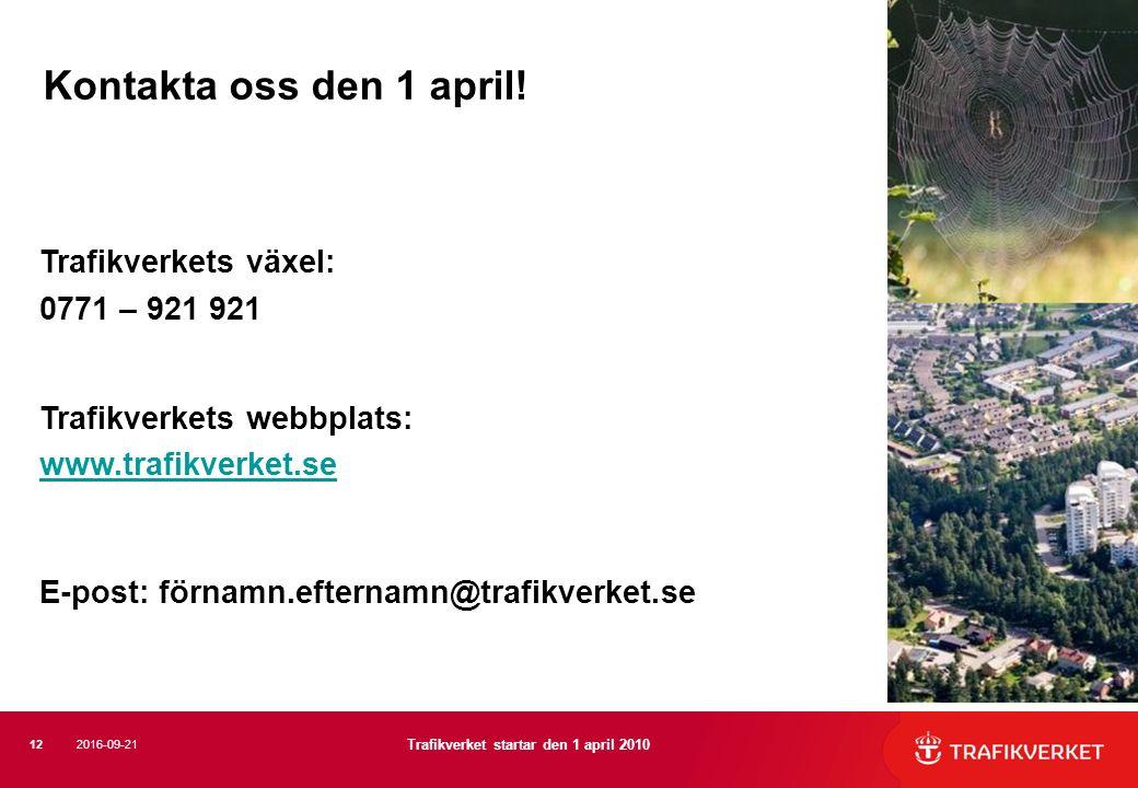 Trafikverkets växel: 0771 – 921 921 Trafikverkets webbplats: www.trafikverket.se E-post: förnamn.efternamn@trafikverket.se Kontakta oss den 1 april! 1