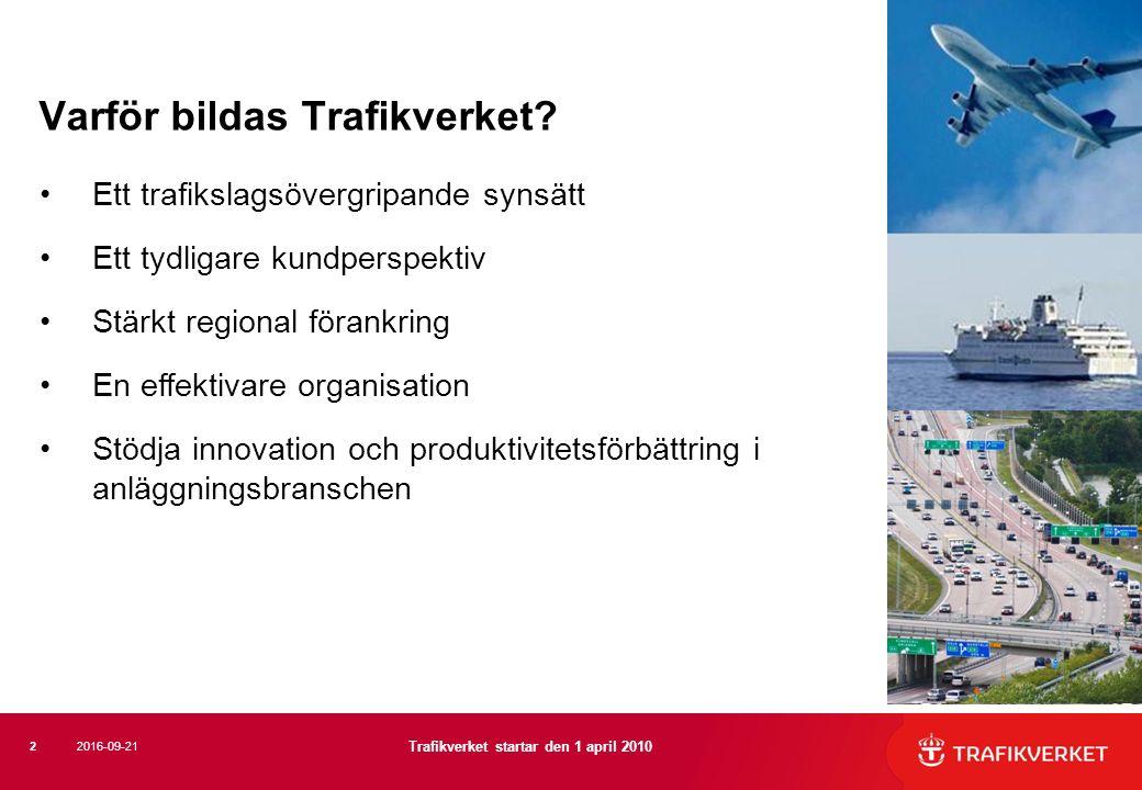 Varför bildas Trafikverket? Ett trafikslagsövergripande synsätt Ett tydligare kundperspektiv Stärkt regional förankring En effektivare organisation St