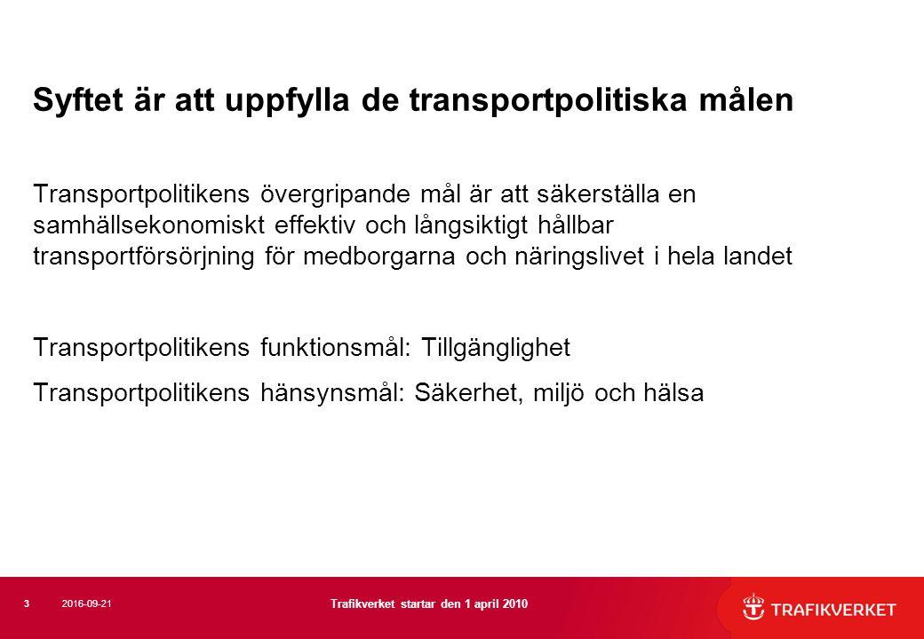 Syftet är att uppfylla de transportpolitiska målen Transportpolitikens övergripande mål är att säkerställa en samhällsekonomiskt effektiv och långsiktigt hållbar transportförsörjning för medborgarna och näringslivet i hela landet Transportpolitikens funktionsmål: Tillgänglighet Transportpolitikens hänsynsmål: Säkerhet, miljö och hälsa 3 Trafikverket startar den 1 april 2010 2016-09-21
