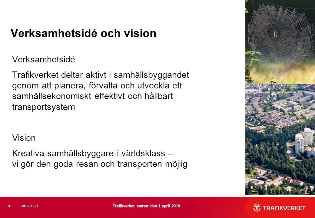 Verksamhetsidé och vision Verksamhetsidé Trafikverket deltar aktivt i samhällsbyggandet genom att planera, förvalta och utveckla ett samhällsekonomiskt effektivt och hållbart transportsystem Vision Kreativa samhällsbyggare i världsklass – vi gör den goda resan och transporten möjlig 4 Trafikverket startar den 1 april 2010 2016-09-21