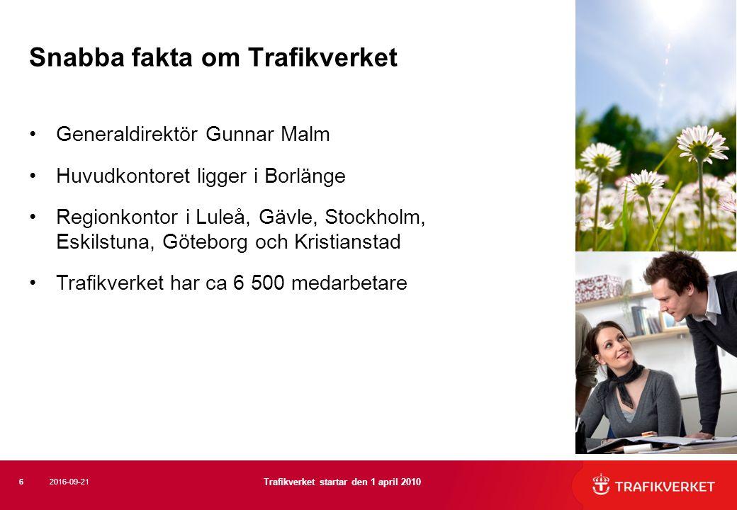 Generaldirektör Gunnar Malm Huvudkontoret ligger i Borlänge Regionkontor i Luleå, Gävle, Stockholm, Eskilstuna, Göteborg och Kristianstad Trafikverket har ca 6 500 medarbetare Snabba fakta om Trafikverket 6 Trafikverket startar den 1 april 2010 2016-09-21