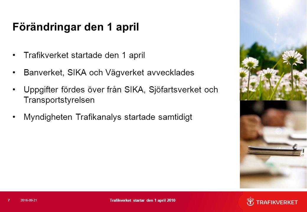 Trafikverket startade den 1 april Banverket, SIKA och Vägverket avvecklades Uppgifter fördes över från SIKA, Sjöfartsverket och Transportstyrelsen Myn
