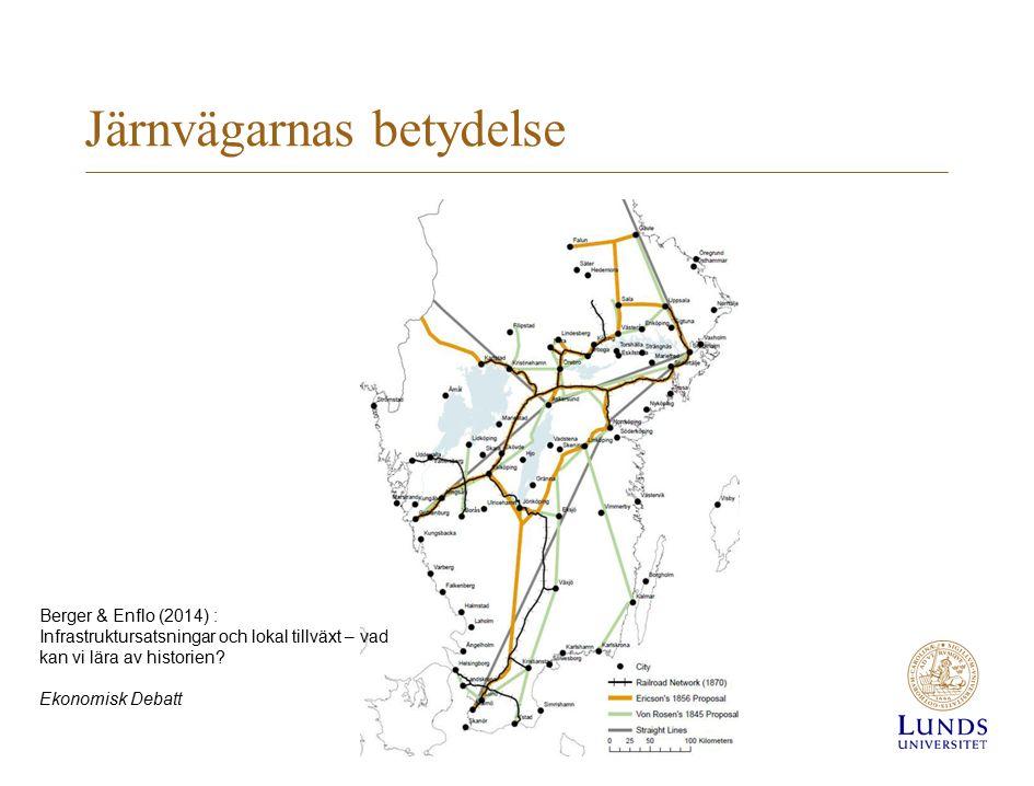 Järnvägarnas betydelse Berger & Enflo (2014) : Infrastruktursatsningar och lokal tillväxt – vad kan vi lära av historien.